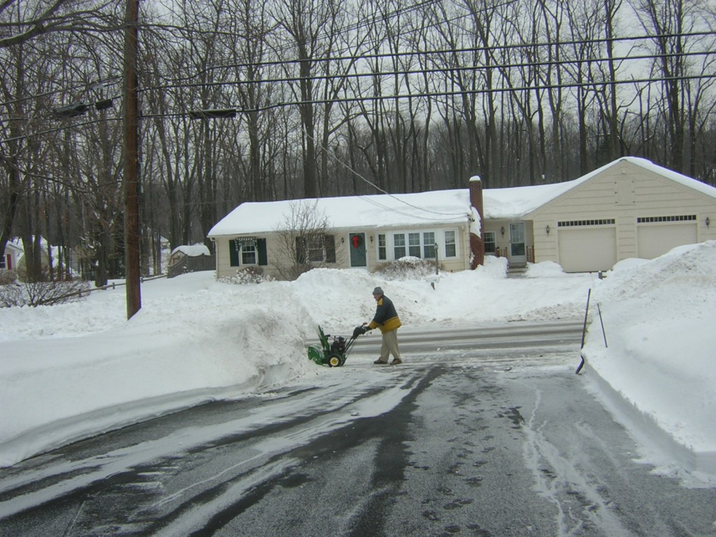 Dennis blowing snow in Holden, MA, 2011