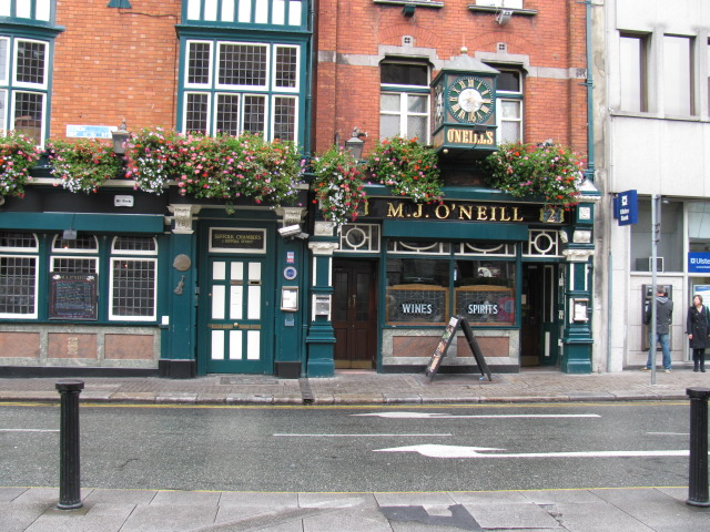 Photograph of MJ O'Neill's bar in Dublin, Ireland.