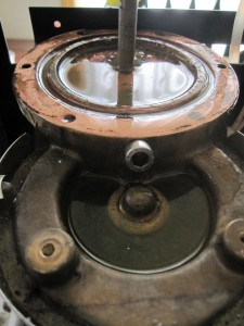 Photo of a partially cleaned boiler from a Rancilio Silvia