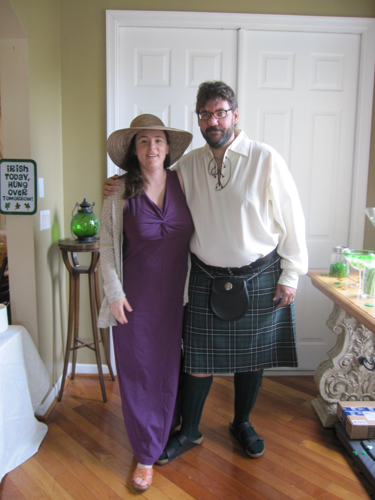 Photograph of Rebeka and myself dressed up for a wedding.