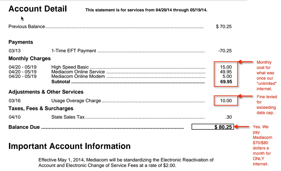 Screen capture of an internet bill from Mediacom.